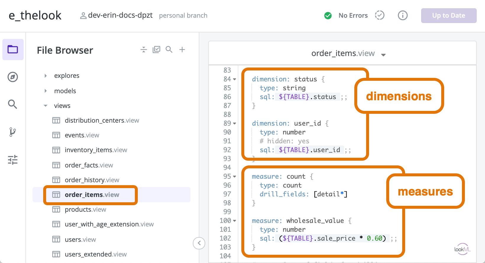 Looker example interface window