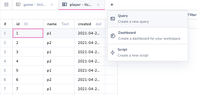 arctype create a new query window