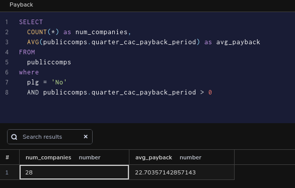 Querying for payback periods from public SaaS companies