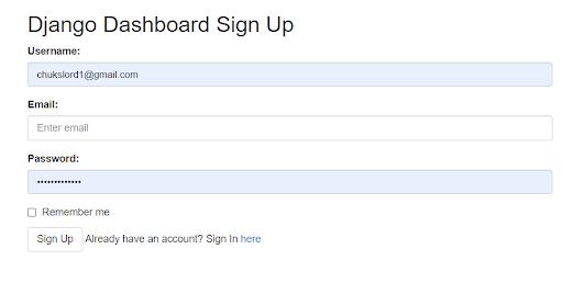 django dashboard application registration screen