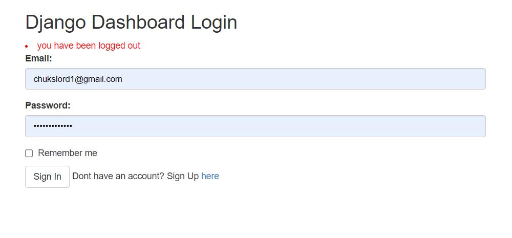 django dashboard login page