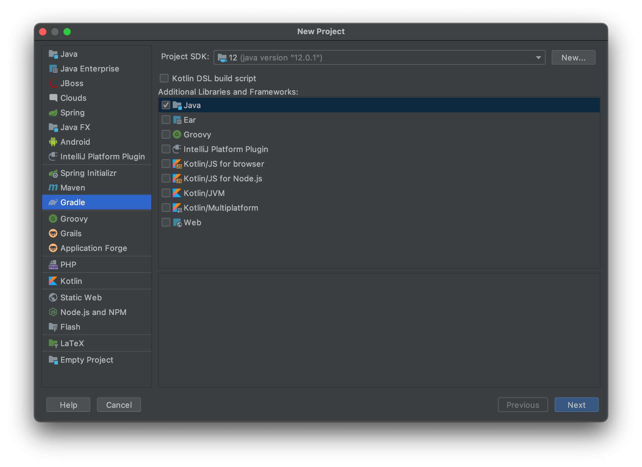 Create a new Gradle project